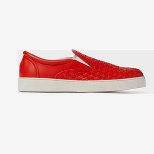 Bottega Veneta Red Woven Leather Dodger Sneaker